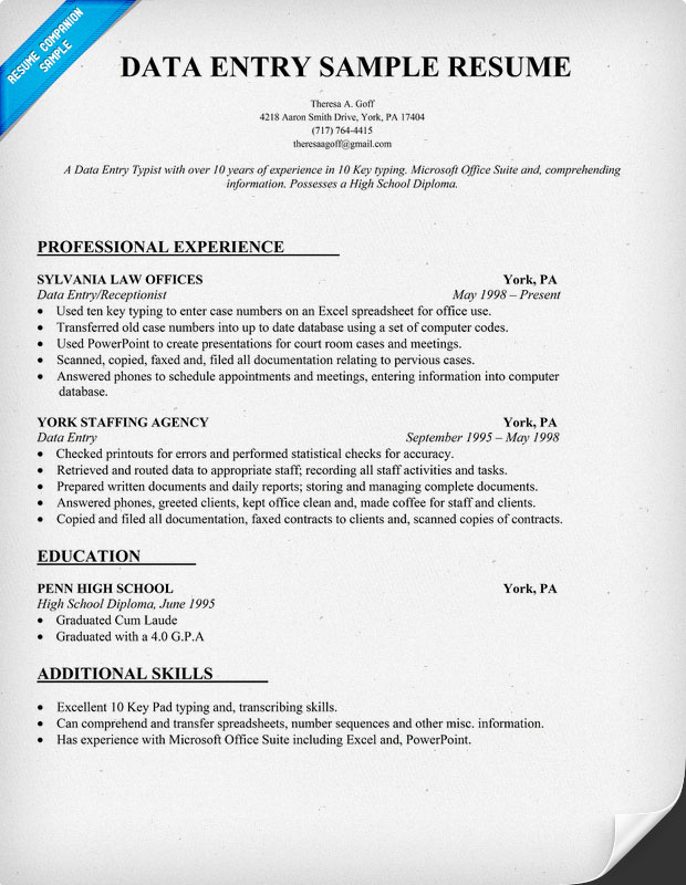 Data Entry Resume Template 28 Images Data Entry Resume Sles