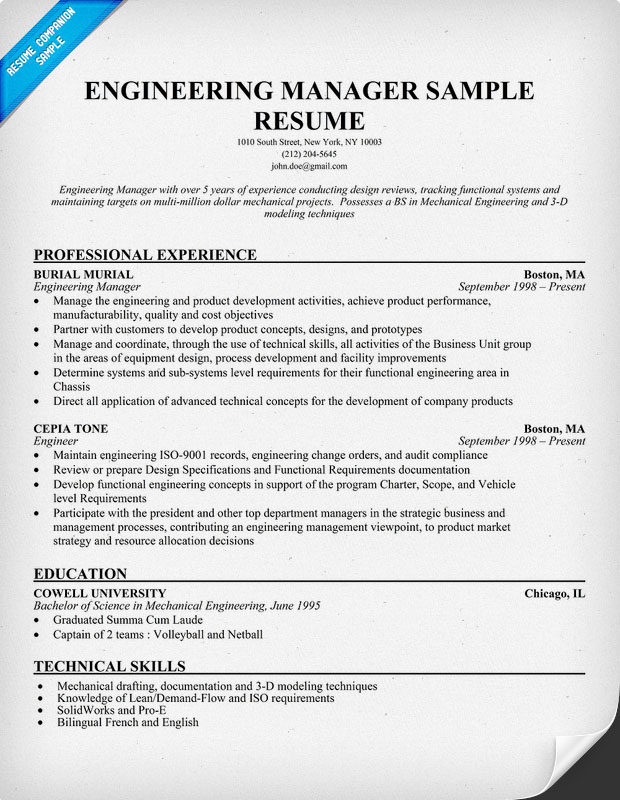 Engineering Manager Resume Sample