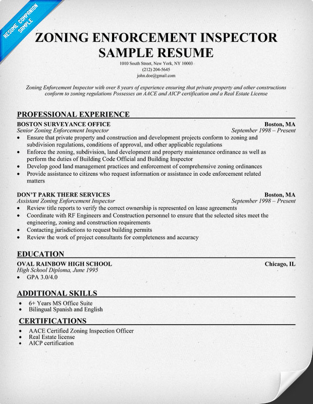 Zoning Enforcement Inspector Resume Samp