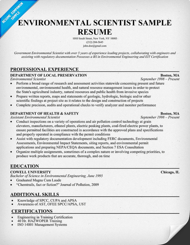 resume format  resume examples environmental science