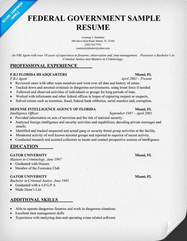 example of federal government resumes
