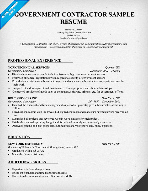 contractor resume example government page picture