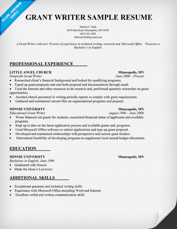 Grant Writer Resume Example