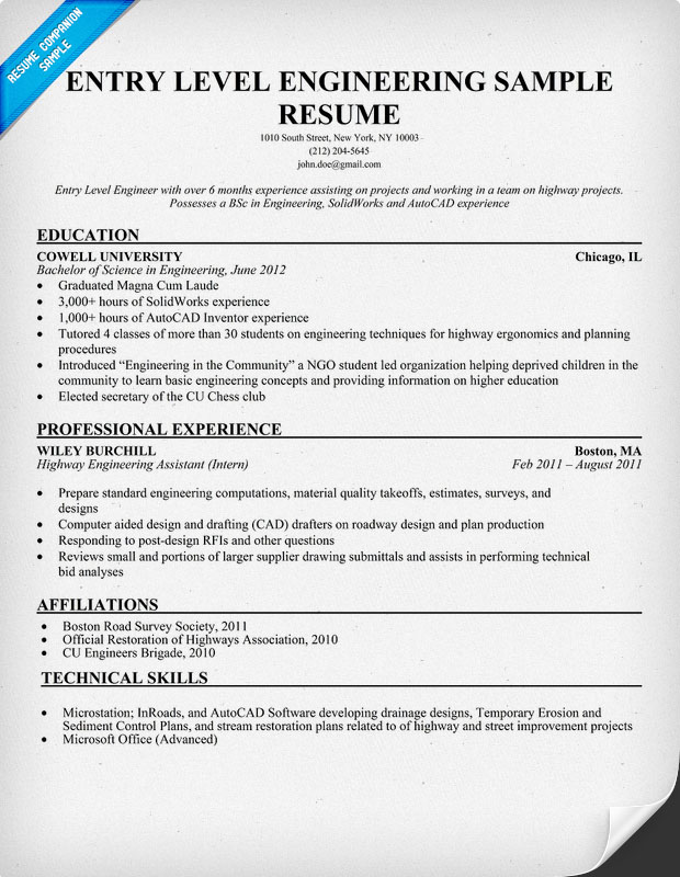 Entry Level Engineering Resume Sample