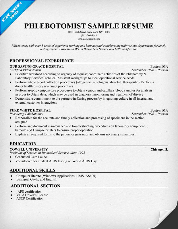 Phlebotomist Job Resume Objective