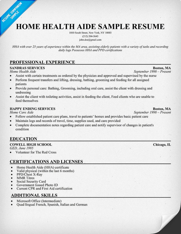 Home Health Aide Resume Example