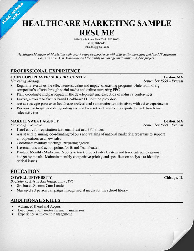healthcare marketing sample resume hospital resume examples - Hospital Resume Examples