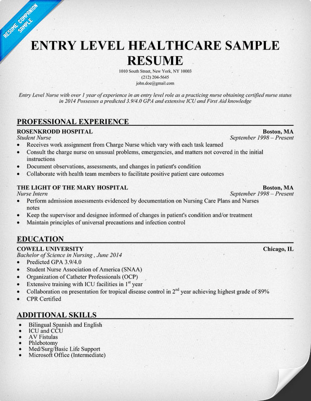 Entry Level Healthcare Resume Sample