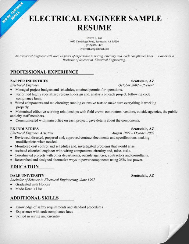 electrical engineer resume examples - Resume Sample For Electrical Engineer