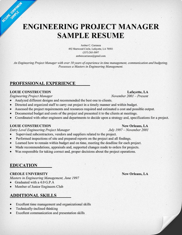 sle cv for engineering project manager costa sol real