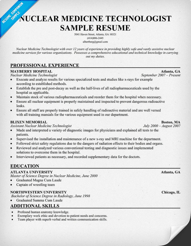 Resume objective medical technologist