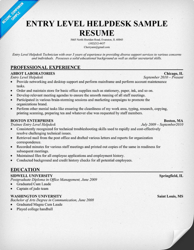 Entry Level Help Desk Resume Sample
