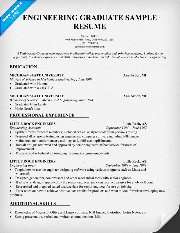 Engineering Graduate Resume Sample