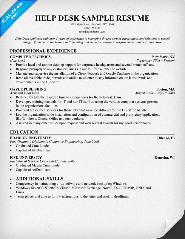 entry level help desk resume help desk manager resume resume and cover letters help desk analyst - Sample Entry Level Help Desk Resume