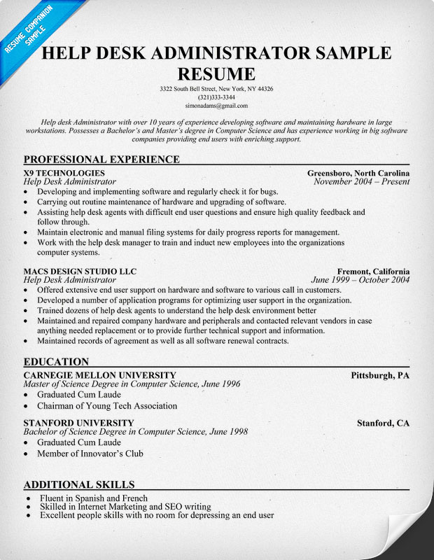 Help Desk Administrator Resume Sample