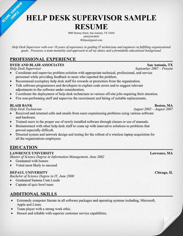 Sample Help Desk Supervisor Resume
