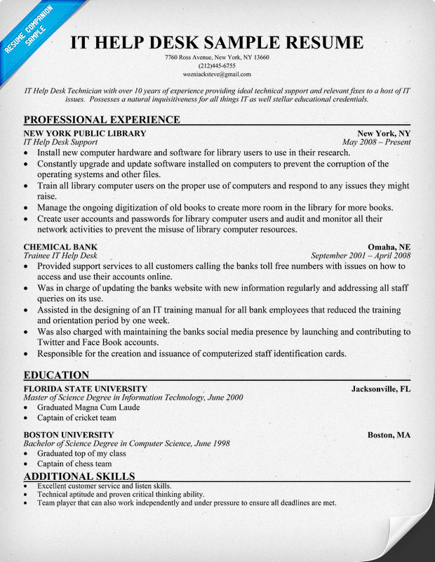 Help Desk Resume Sample Free Download | Great Resume Builder