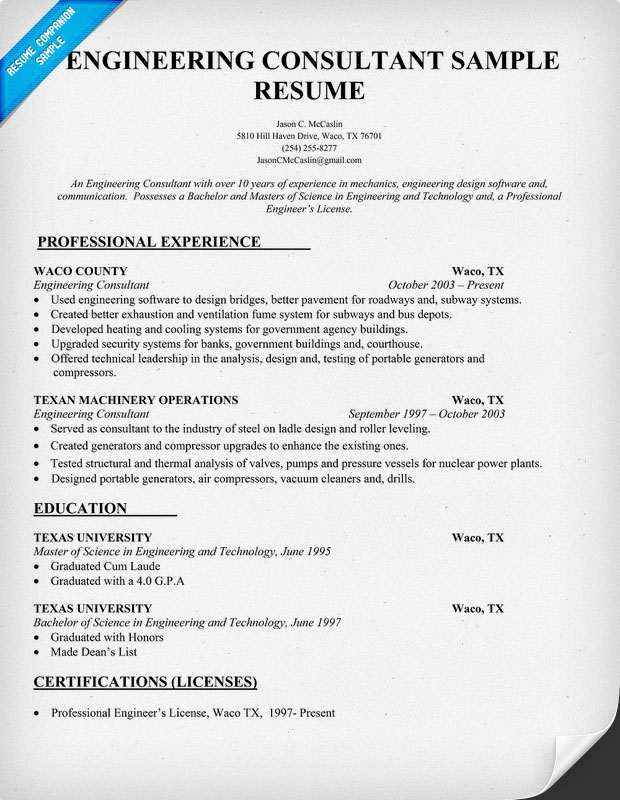 Engineering Consultant Resume Sample