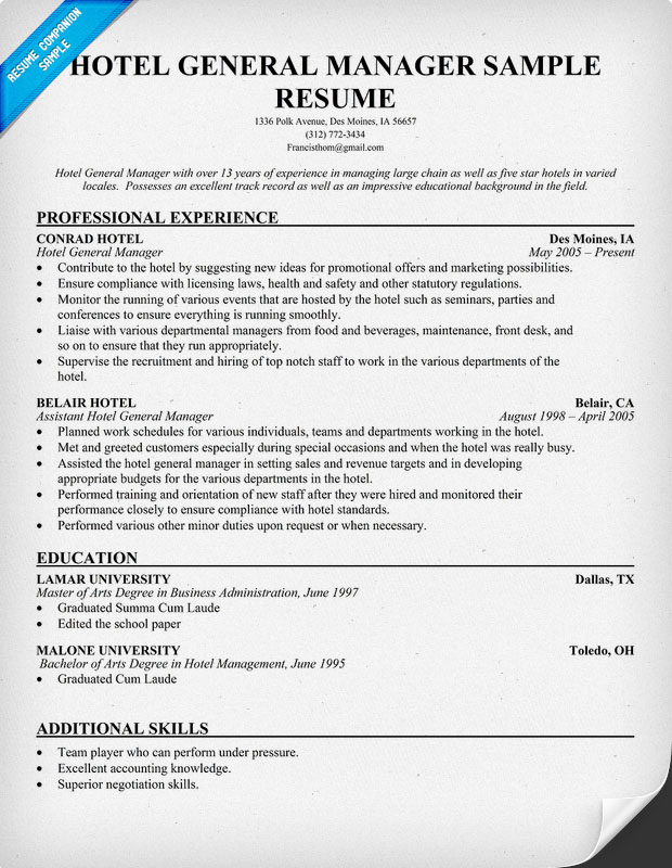 Hotel General Manager Resume Sample