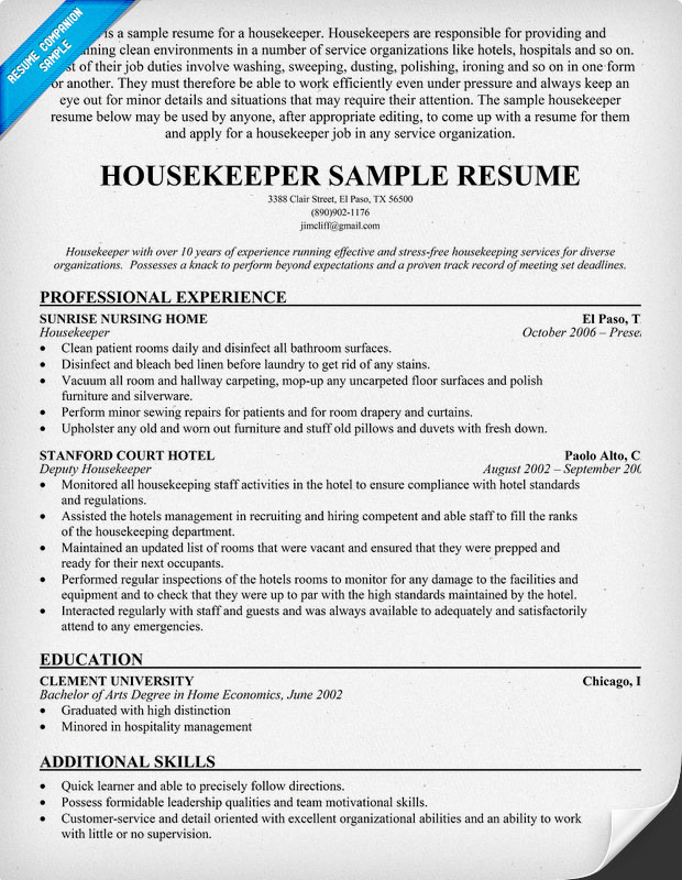 Housekeeper Sample Housekeeping Resume
