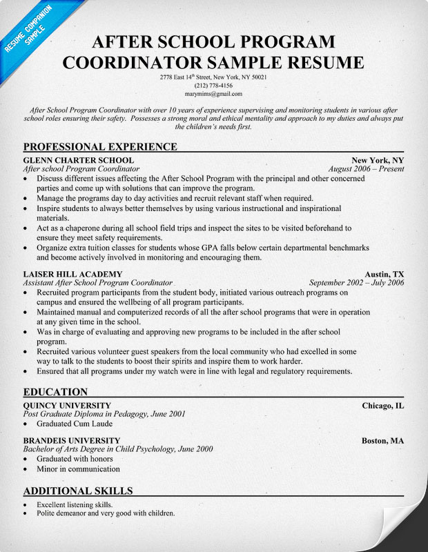 Youth program coordinator resume