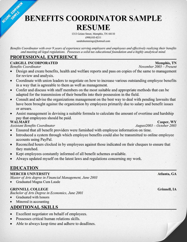 Hr benefits manager resume