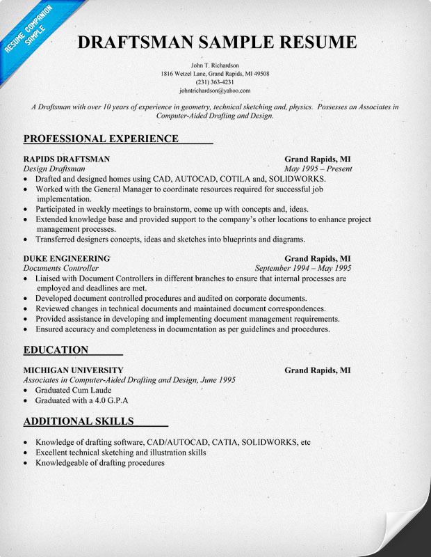 Draftsman Resume Sample
