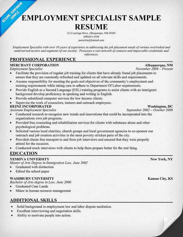 sample cover letter sample resume employment specialist