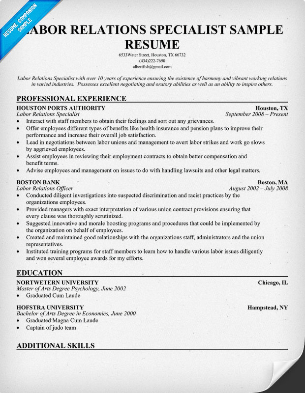 labor relations specialist resume