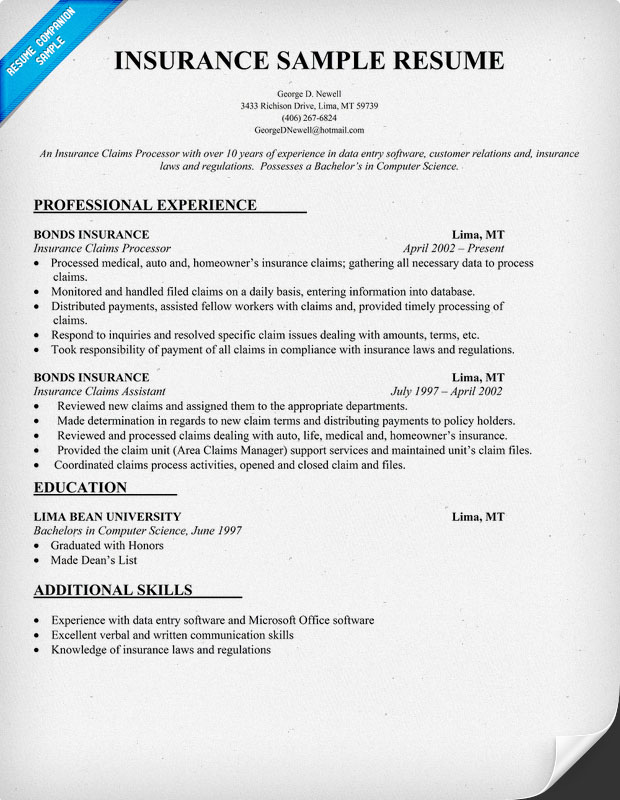 insurance resume insurance resume writing tips