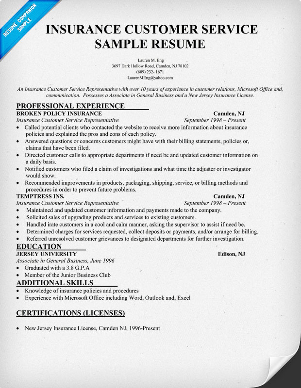 Customer Service Representative Resume Free Resume Template – Resume for Customer Service Rep