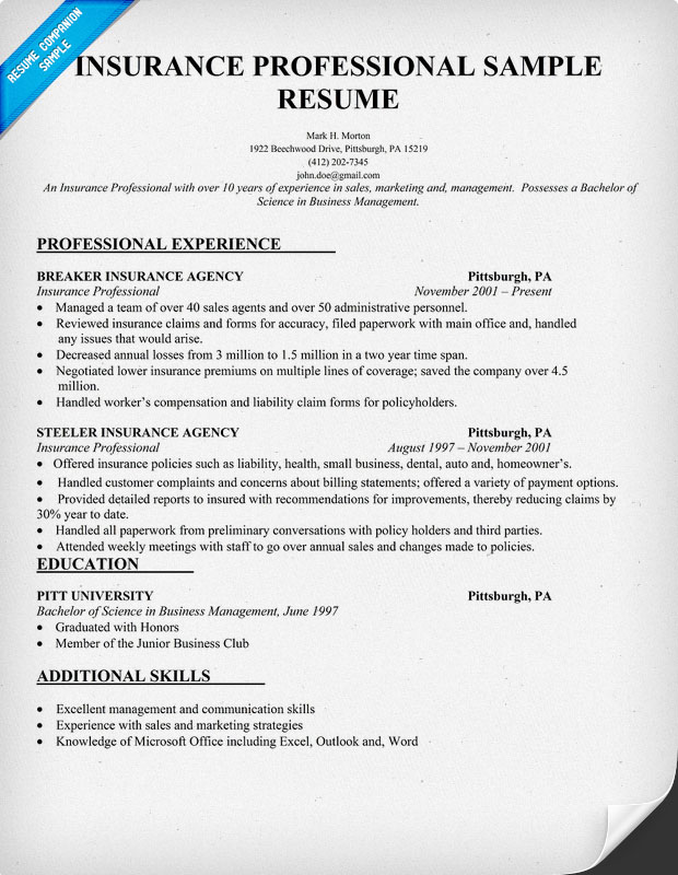 Insurance Sample Resume