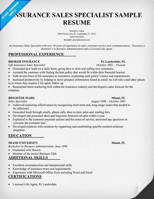 Insurance Sales Specialist Resume Sample