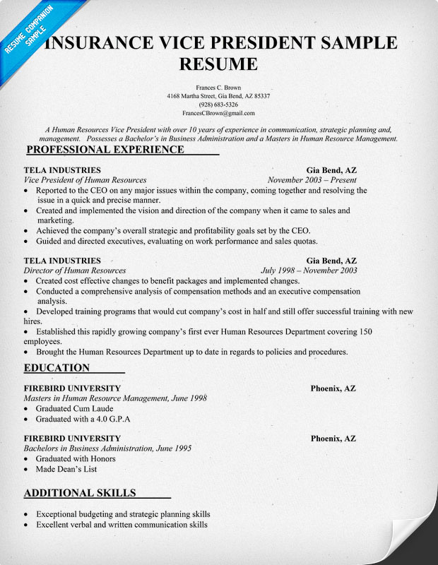 Insurance Vice President Resume Sample