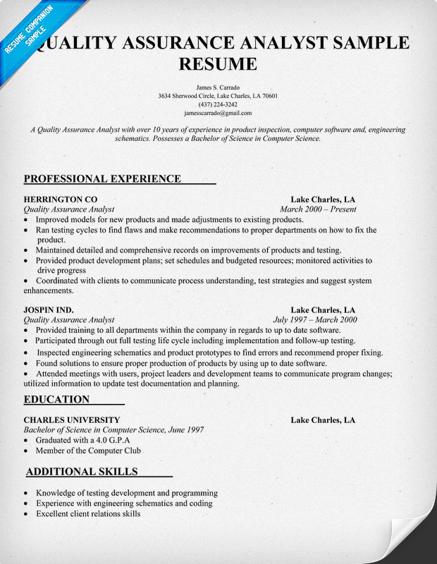 Quality Manager Resume Samples,Sample QA Analyst Resume Sample ...