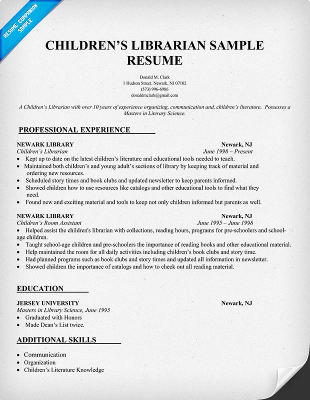 Children's Librarian Resume Sample