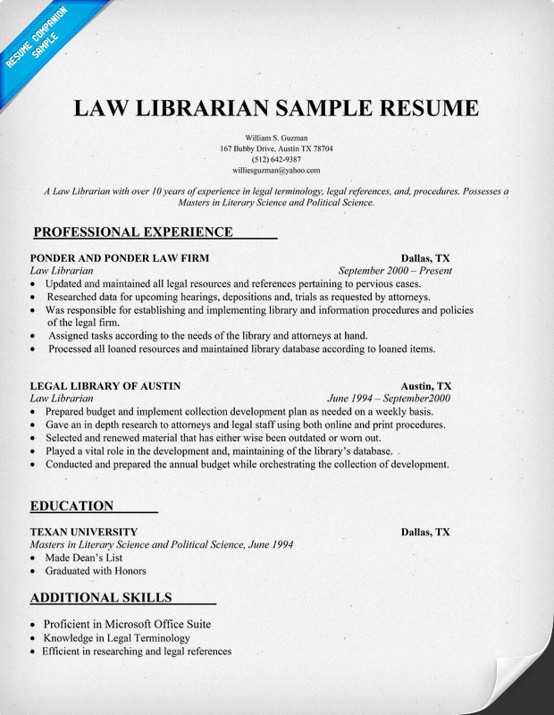 Law Librarian Sample Resume