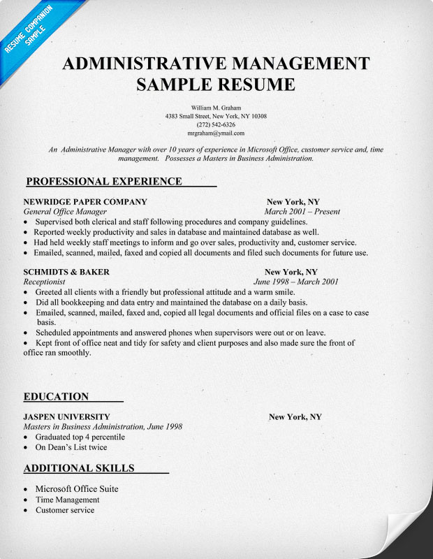Administrative Management Resume Sample