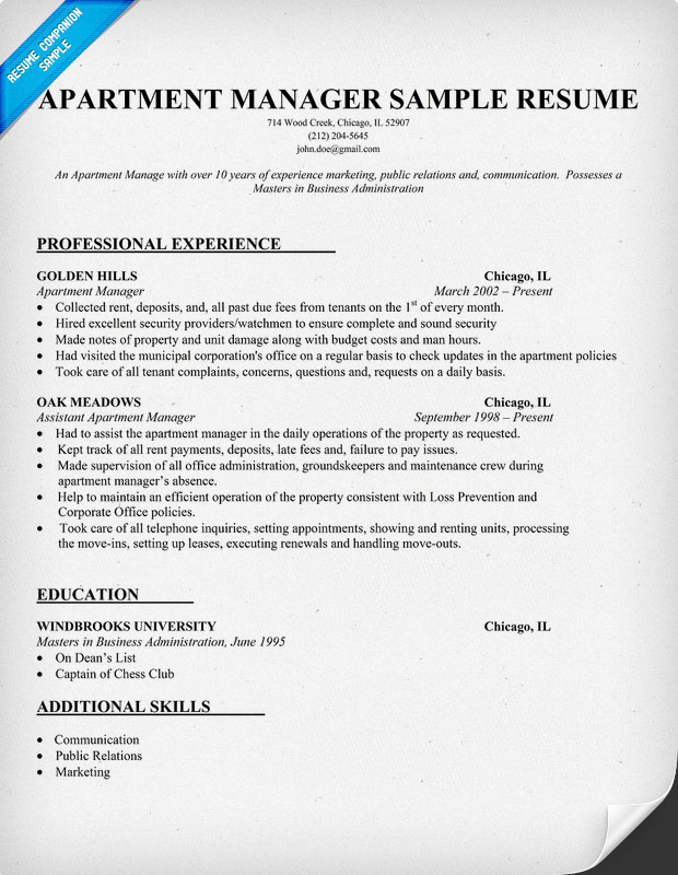 manager resume ex les on property management resume sample templates