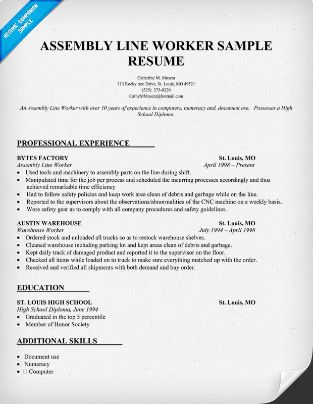 Assembly Line Worker Resume Sample