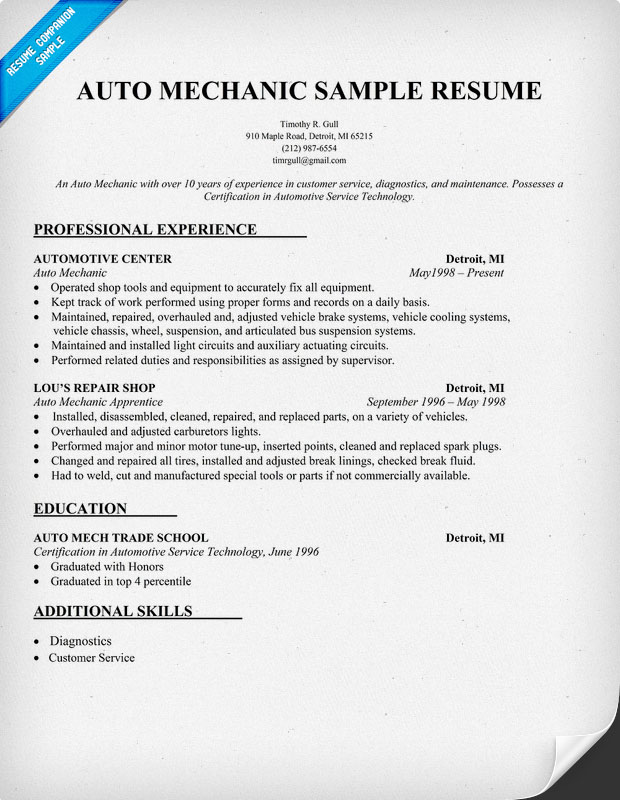 Auto Mechanic Resume Sample