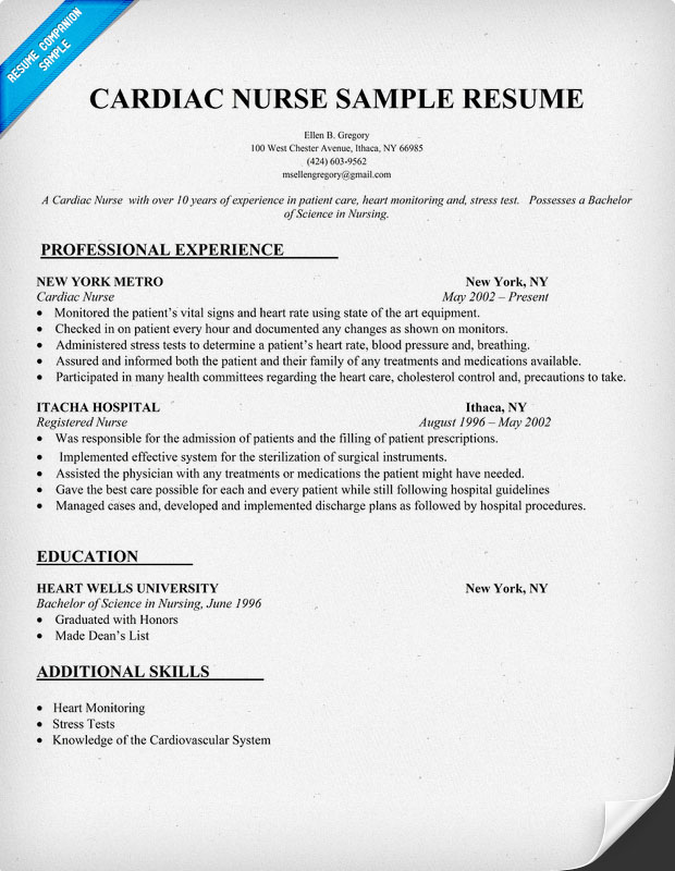 Cardiac Nurse Sample Resume
