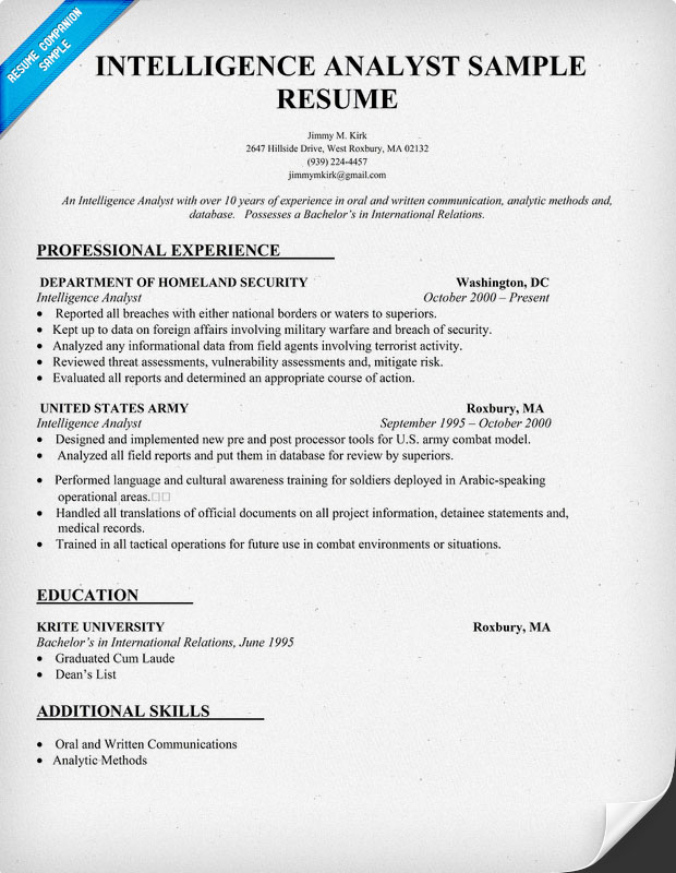 Military Intelligence Analyst Resume Sample