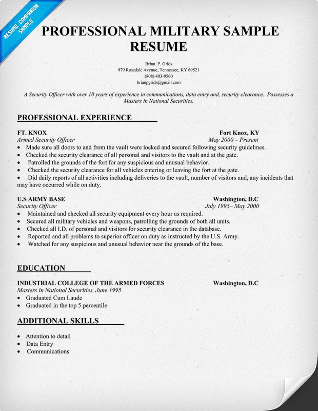 Professional Military Sample Resume