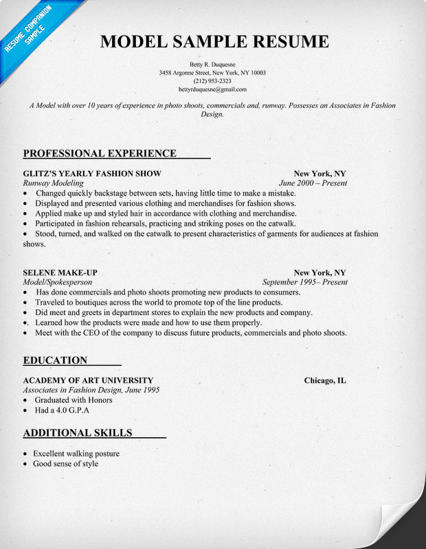 Resume modeling sample