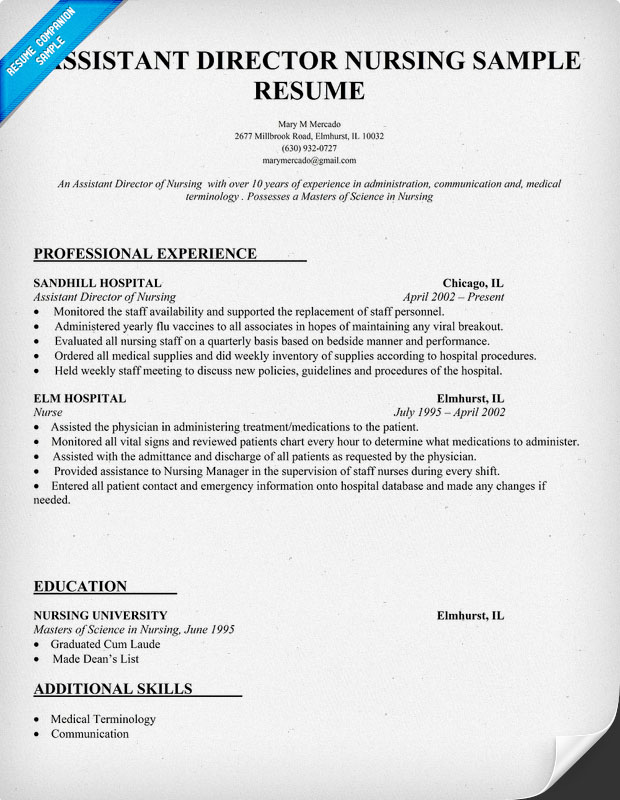 exle of assistant director of nursing resume