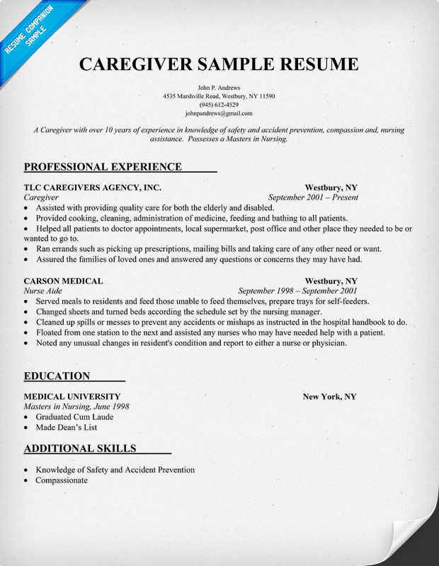 Caregiver Sample Resume