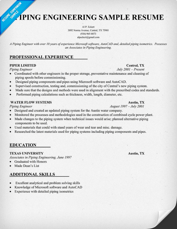 Piping Engineer Resume Sample