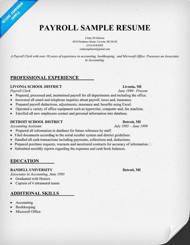 Payroll Resume Template