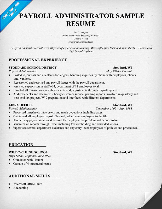 Payroll Administrator Sample Resume